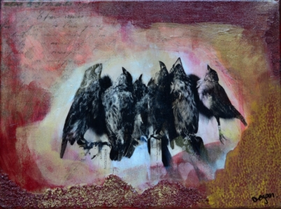 Finches Mixed Media art